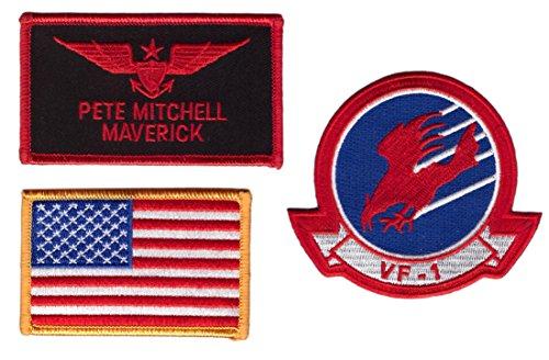 [Hook Maverik Top Gun Movie Name Tag Eagle US Flag Costume Patch 3 pcs Set] (Top Gun Costume Patches)