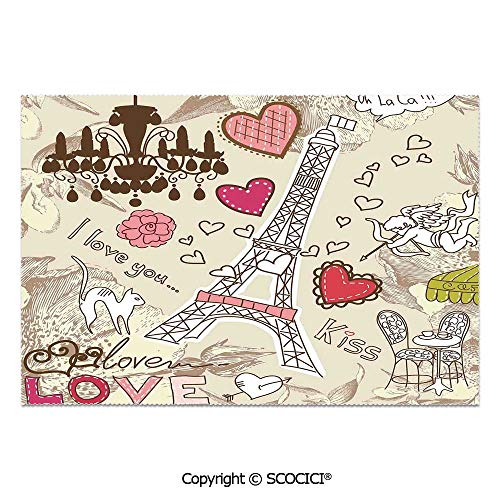 SCOCICI Place Mats Set of 6 Personalized Printed Non-Slip Table Mats Doodles Illustration of Eiffel Tower Hearts Chandelier Flower Love Themed Vintage Artwork for Dining Room Kitchen Table Decor