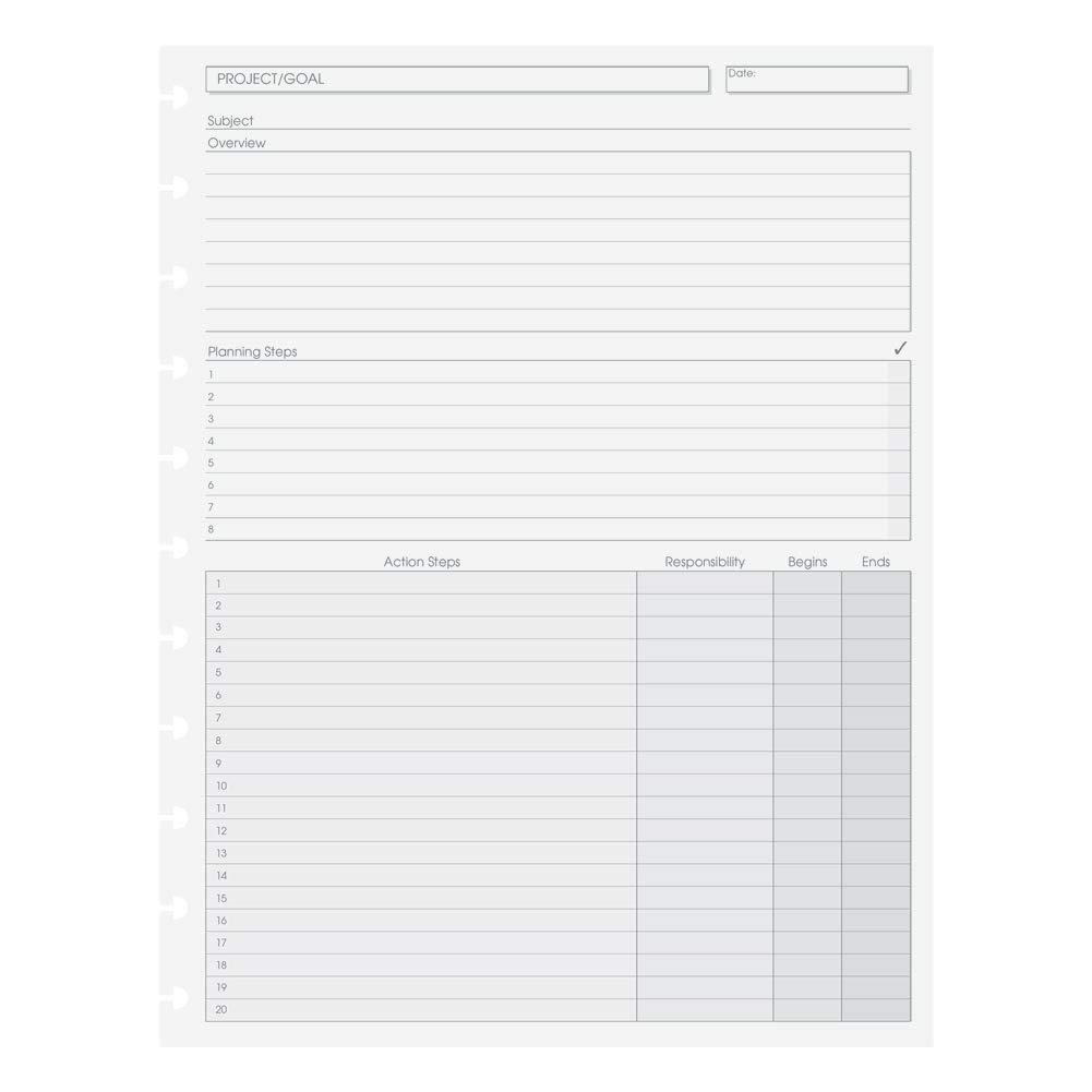 Levenger Circa Project Planner Refill Sheets, 100, Letter