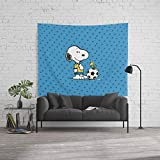 Society6 Wall Tapestry, Size Large: 88'' x 104'', Snoopy and Woodstock Soccer by sydomukty