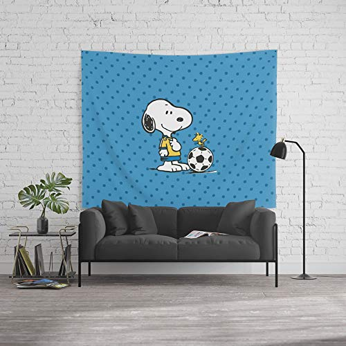 Society6 Wall Tapestry, Size Large: 88'' x 104'', Snoopy and Woodstock Soccer by sydomukty by Society6
