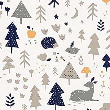 Carousel Designs Taupe And Windsor Navy Baby Woodland Fabric By The Yard