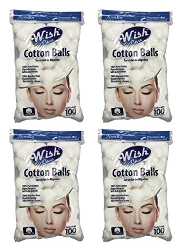 (Wish Jumbo Hypoallergenic Soft & Absorbent Cotton Balls, 100% Pure Cotton, Pack of 4 (400 Balls))