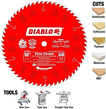 Diablo D1060x 10 60t Diablo Fine Finish Work Chop Miter And Table Saw Bl Circular Saw Blades Amazon Com