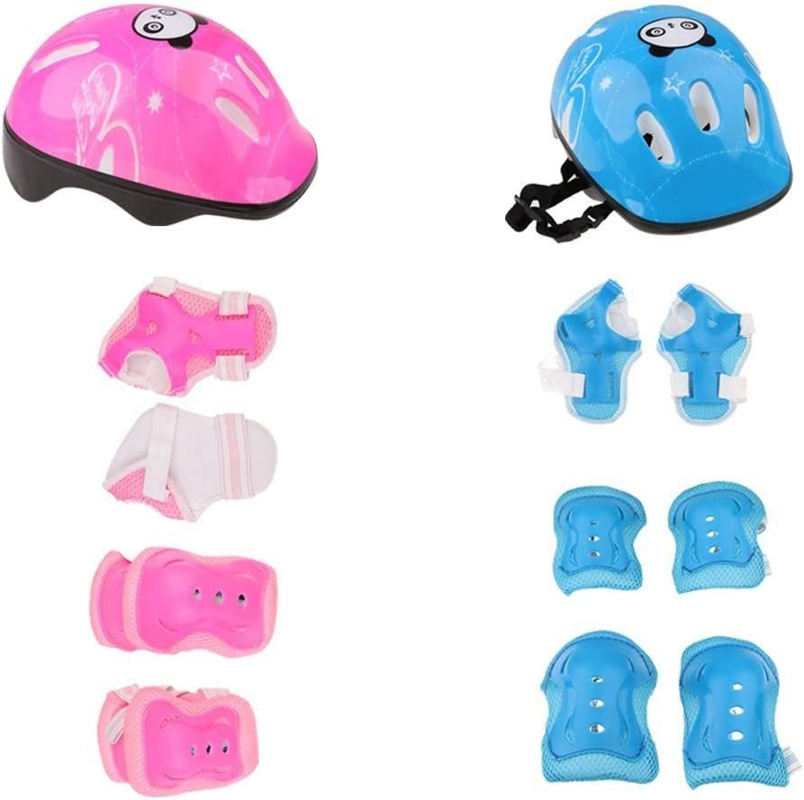 GYK Boutique Rodilleras Protectoras, Casco de Patinaje Infantil Codo de Rodilla Cojín de muñeca (Rosa + Azul)