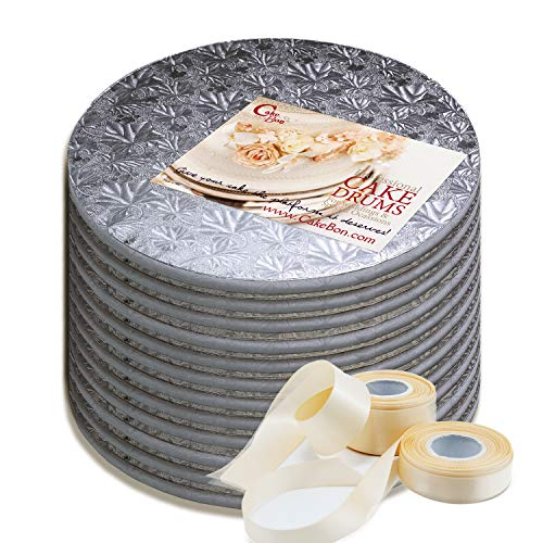 Cake Drums Round 12 Inches - Sturdy 1/2 Inch Thick Corrugated Cardboard - Wrapped In Beautiful Embossed Grease Proof Foil - Smooth Edges - FREE Satin Cake Ribbon (Silver, 12-Pack)