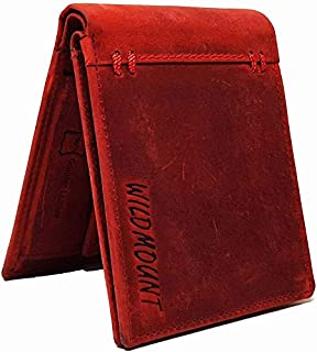 Wildmount Men Red Genuine Leather Wallet  7 Card Slots