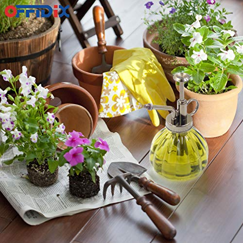 """OFFIDIX Plant Mister,Glass Spray Bottle Small Watering Can Indoor 6.3"""" Tall Vintage Pumpkin Style Plastic Top Pump One Hand Mister Spray Bottle for Indoor Potted Plants (Olive Green) 7"""