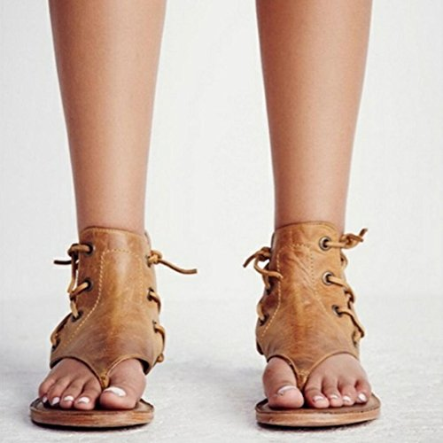 Amlaiworld Ladies Sandals,Sexy Women Pinch Flat-bottomed Roman Sandals Strappy Sandals Ankle Flat Straps Shoes Yellow