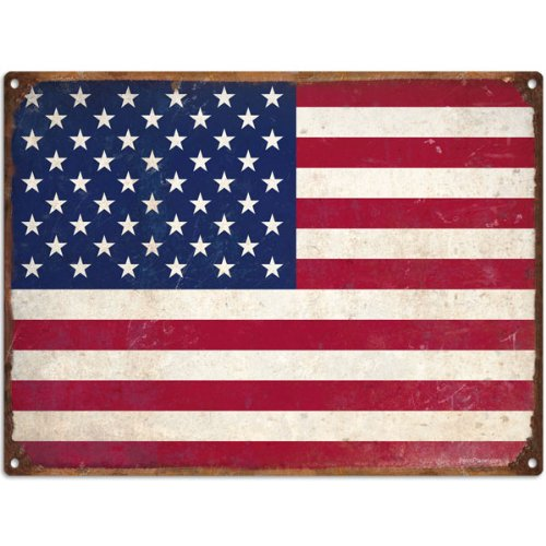 Flag Vintage Metal - United States Flag Rusty Tin Sign