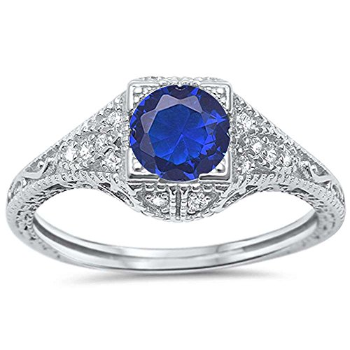 Sterling Silver Antique Deco Modern Engagement Simulated Blue Sapphire Ring Sizes 6