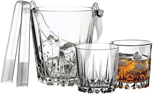 Circleware 10123 Karat Whiskey Glass & Matching Ice Set of 8 6-10 oz, Double Old Fashioned Drinking Glasses, 1-Bucket 5