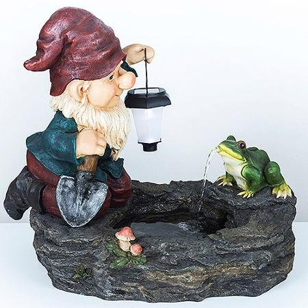 Gnome Fountain with Solar Light by Generic