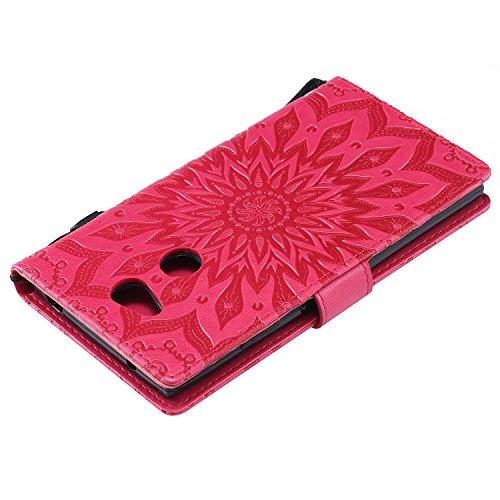 Funda Sony Xperia XA2 - Alta Calidad Flip PU Cuero Caso Sol Patrón en Relieve /Stent/Billetera/Con el Sostenedor de Tarjeta/Proteccion Caso Cubrir para Sony Xperia XA2(Rosa) Rojo
