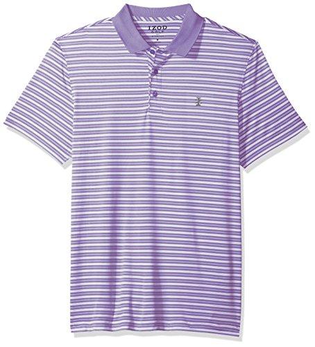 IZOD Men's Short Sleeve Textured Stripe Traditional Golf Polo, Dahlia Purple, XX-Large