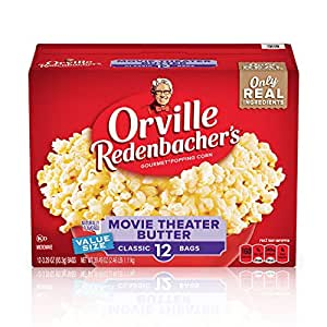 Orville Redenbacher's Movie Theater Butter Microwave Popcorn, 3.29 Ounce Classic Bag, 12-Count