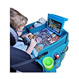 Travel Tykes Travel Play Tray - Kids Travel Tray Activity Organizer Keeps Snacks and Toys Within Child's Reach | Displays African Animal Art | Child Travel Tray for Car Seat | Toddler Travel Lap Tray