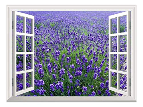 Removable Wall Sticker Wall Mural Lavender Field Creative Window View Wall Decor