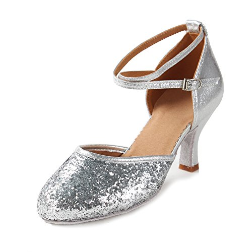 HIPPOSEUS Women's Latin Ballroom Moden Dance Shoes Glitter Leatherette/Sequins Closed Toes 7CM Heel,Silver,Model WX-CL, 8 B(M) US ()
