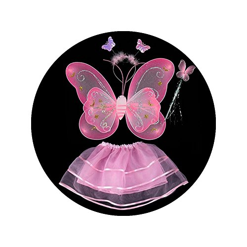 Topbeu Fairy Princess Birthday Party Stage Butterfly Angel Wing Tutu Skirt Costume Set Dress up Accessories for Little Girls