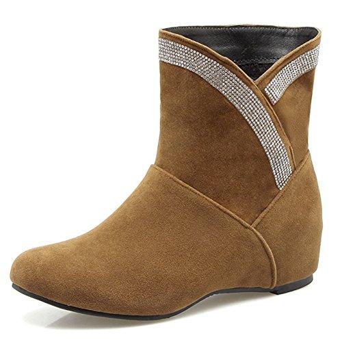 Increased Hidden Rhinestone Brown Flat Booties Ankle Heel Decoration Toe Booties QZUnique Women Round wq7U5t5I