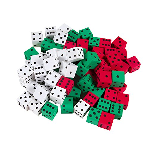 (hand2mind Foam 3-Color, Dot Dice (Set of 72))