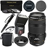 Canon EF 70–300mm f/4–5.6 IS USM Lens with Vivitar TTL Flash + 3pc Filter Kit + Monopod