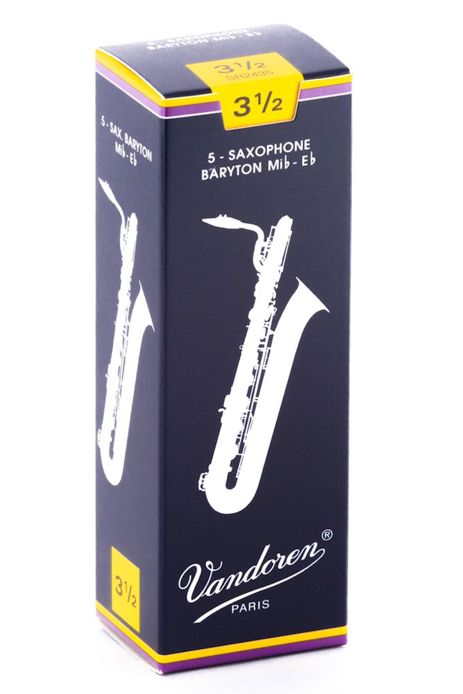 Vandoren SR2435 Bari Sax Traditional Reeds Strength 3.5; Box of 5