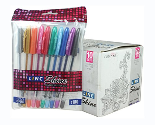 Linc Shine-All New Top Quality Sparkle Glitter Multicolored Gel Pens Assorted Units for Adult Coloring, Tattoo Making, Doodling, Drawing, Ink Art etc. - 100 Pens Value Box Pack..