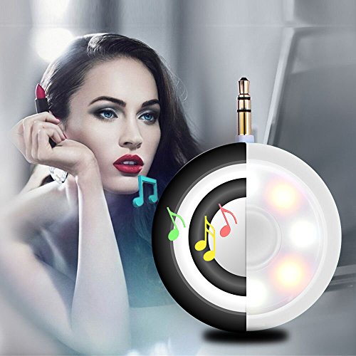 2in1 Selfie Fill Light with Wireless Portable Speaker, BooTaa Rechargeable Mini Beauty Led Ring Fill Light with speaker for iPhone 6/6 plus/6s/6s plus, iPad, Mac Book, Samsung S7/S6, Tablets (Black)