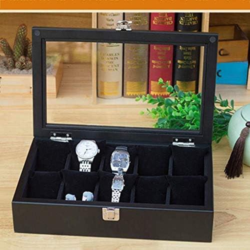 SBSNH ストレージボックス-10グリッドオーガナイザーブラックウォッチボックス木製ウォッチディスプレイボックスジュエリーブレスレットストレージボックス