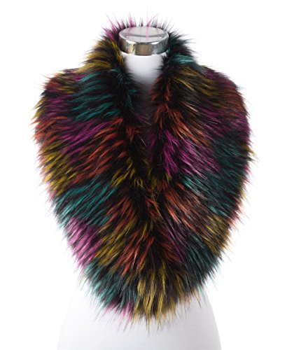 Fur Coat Costumes Halloween (Lucky Leaf Women Winter Faux Fur Scarf Wrap Collar Shrug for Halloween Costumes Evening Party (Colorful))
