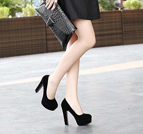 Court Fashion Women Color Pump 5cm Pure Black Size Dress Toe Round Platform OL 34 Casual 12 3 Shoes Shoes Shoes 5cm Heel Work Eu 44 Chunkly A7daxAn6