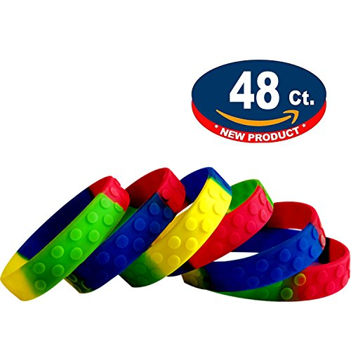 Eventitems 48 Pack Silicone Bracelets for Kids - Kids Birthday Party Wristbands - Kids Size -