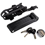 Vzer Universal Strong Alloy Steel 6 Joints Folding Bike Lock with 3 Keys Anti Theft - Black