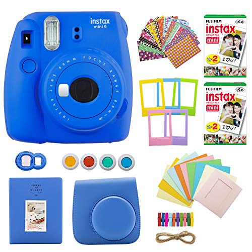 Fujifilm INSTAX Mini 9 Instant Camera (Cobalt Blue) with Twin Instant Film Packs (40 Shots) and 7-1 Accessory Gift Bundle (4 Items)