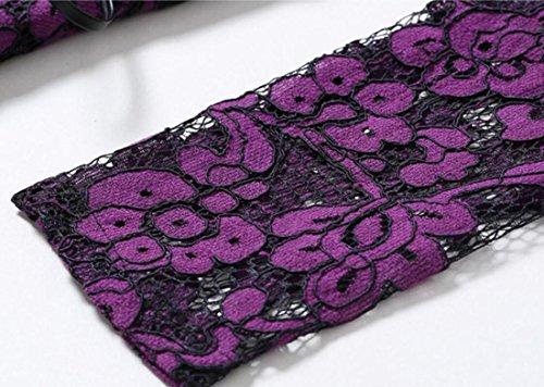 Jaycargogo Womens Profonde V-cou Longue Robe De Plage En Dentelle À Manches Robe Maxi See-through Violet