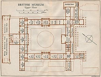 British Museum Upper Floor Vintage Map Plan London 1922 Old