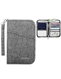 MoKo Travel Wallet Passport Holder, Family Passport Holder Cover RFID Blocking Document Organizer Case for Men & Women, Gray