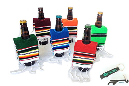 Mexican Beer Bottle Serape Ponchos - 6 Pack