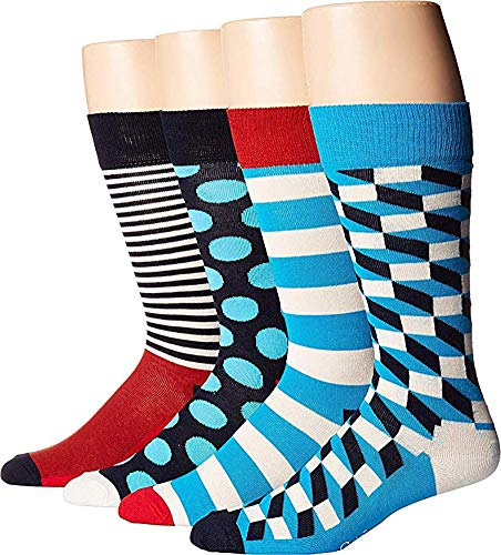Happy Socks - Assorted Colorful Premium Cotton Sock Gift Box for Men and Women (9-11, Blue Combo)