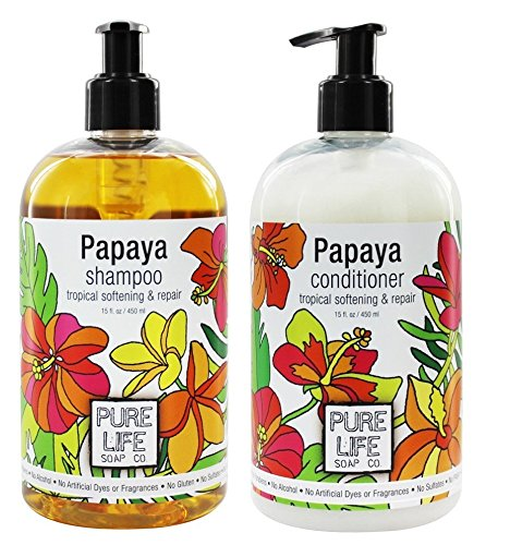 Pure Life Soap Co. Papaya Shampoo and Conditioner Bundle With Grapefruit Seed Extract, Sesame Oil and Vitamin C, 15 fl oz - Life Conditioner Pure Soap
