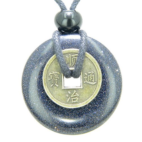 Antique Lucky Coin Good Luck Powers Amulet Blue Goldstone 30mm Donut Pendant Necklace