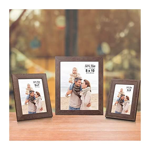 LaVie Home 8x10 Picture Frames (4 Packs, Dark Brown) Wooden Textured Finish Photo Frame with High Definition Glass for Wall Mount & Tabletop Display, Set of 4 Zest Collection - √ UNIQUE WOOD TEXTURE DESIGN - LaVie Home 8 x 10 picture frame is designed with a simple lines, Vintage faux wood texture photo frame and it looks bright and tasteful, fits any decor,whether it's modern or vintage. √ HIGHEST QUALITY - Crafted by Durable PS (acrylic-resin) molding construction, clean lines with attractively artificial wood texture finished. Every frame made with perfect attention to details. √ WALL MOUNT or TABLE TOP - Includes hanger hooks to easily hang artwork or photographs in either portrait or landscape orientation. Versatile kickstand easel lets you display either horizontally or vertically. - picture-frames, bedroom-decor, bedroom - 51rjOamAXuL. SS570  -