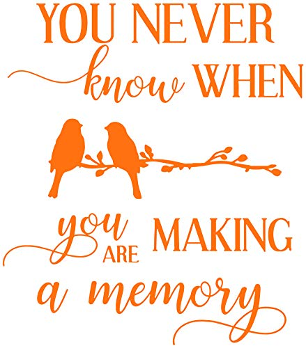 Making Memories Pastel - You Never Know When You are Making a Memory Vinyl Decal Sticker Quote - Large - Pastel Orange