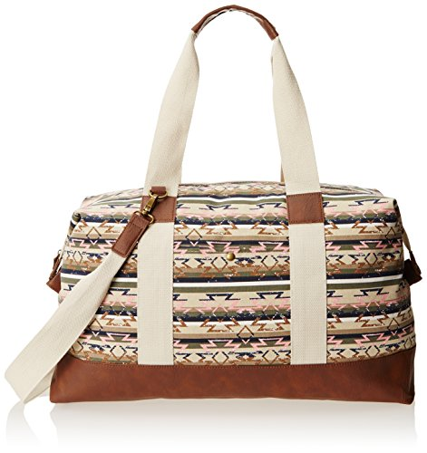 Wild Pair Printed Canvas Weekender With Faux Leather Trim Duffle Handbag, Aztec Stripe, One Size,Aztec Stripe,One Size