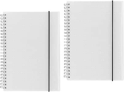 Shulaner A5 Cuaderno puntos espiral, dotted grid Notebook, 160 páginas dotted, cubierta de PP wirebound notebook con paquete de cinturón elástico, Pack de 2: Amazon.es: Oficina y papelería