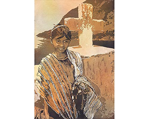 (Painting of traditional dressed girl in front of cross at Lake Atitlan- Guatemala (print).)