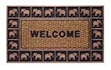 HF by LT Boho Market Rubber and Coir Flatweave Doormat, 18'' x 30'', Durable, Sustainable, Antique Bronze Elephant Border Design, Brown, Black