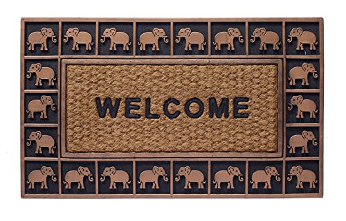 HF by LT Boho Market Rubber and Coir Flatweave Doormat, 18